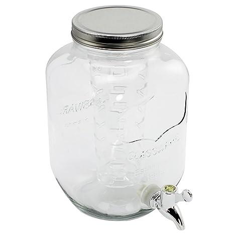 COM-FOUR® Dispensador de bebidas de vidrio en diseño de tarro de albañil,