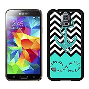 Perfect Fit Samsung Galaxy S5 Case Soft TPU Black Phone Cover Live The Life You Love, Love The Life You Live. Turquoise Black and White Chevron With Anchor Kimberly Kurzendoerfer