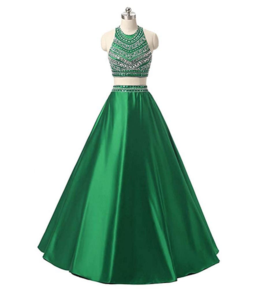 Green Aiyue Yishen Satin 2 Pieces Beading Sequins Formal Floor Length Evening Party Dress