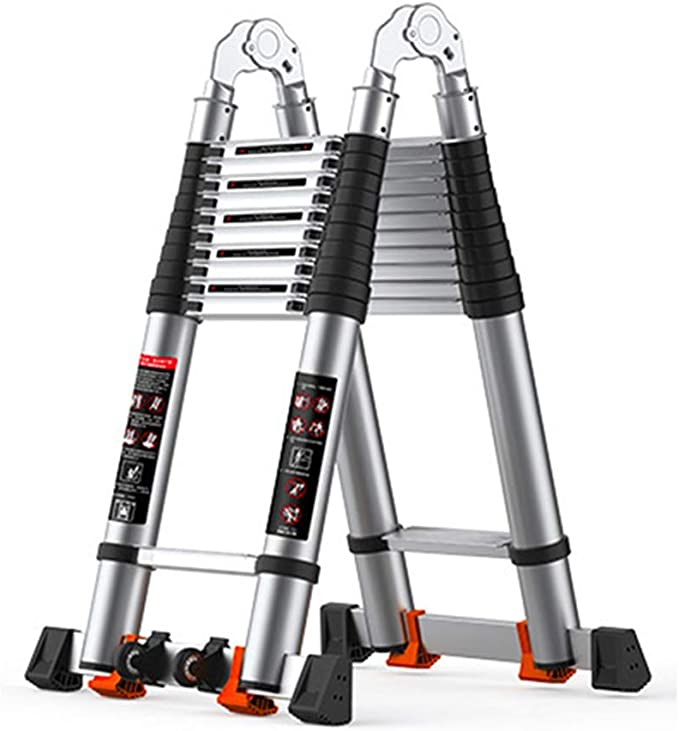 HYDT Escalera telescópica Antideslizante con Barra estabilizadora, Escaleras de extensión multipropósito de Aluminio de Altura Extra, 3.8m / 4.4m / 5m (Size : 4.4m/14.44ft(2.2m+2.2m)): Amazon.es: Hogar