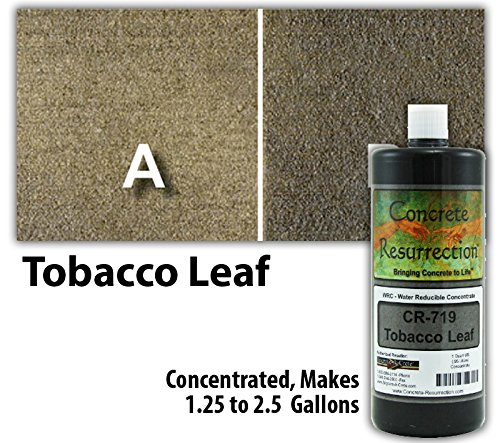 Concrete Stain Concentrate Just Add Water, User & Eco-Friendly Semi-Transparent Professional Grade Cement Stain, Concrete Resurrection Brand (32 ounce, Tobacco Leaf)