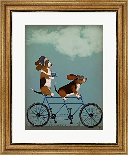Basset Hound Tandem by Fab Funky Framed Art Print Wall Picture, Wide Gold Frame, 22 x 26 inches ()