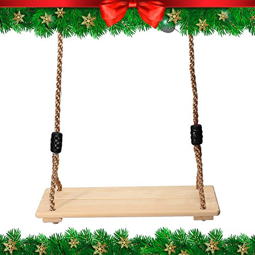 "Fun Tree Swing – Delightful Classic Wooden Swing for Adults and Kids | 17"" x 7.5"" 