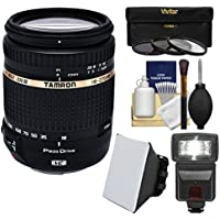 Tamron 18-270mm f/3.5-6.3 Di II VC PZD Macro Zoom Lens with 3 UV/CPL/ND8 Filters + Flash + Soft Box + Kit for Canon EOS Digital SLR Cameras