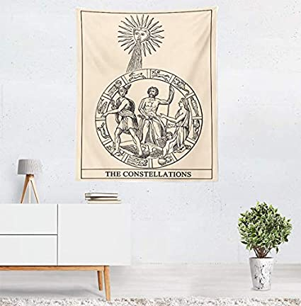Ruinuo Tarot Wall Tapestry Divination Tapestry Wall Hanging for Bedroom Living Room Black and White Strength