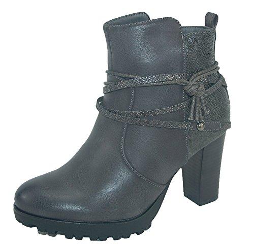 Damen Stiefelette Kayla grau Schuhe leicht gefüttert Gr.39
