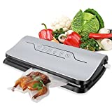 NewPal Vacuum Sealer machine for Dry/Moist Foods Preservation for Food Sous Vide with 5pcs and 1 roll Starter Vacuum Bags (Silver)