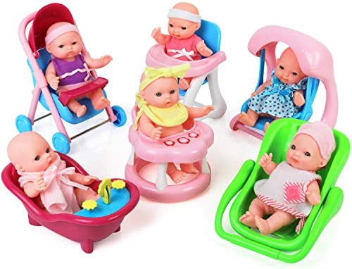 Click N' Play Set of 6 Mini 5″ Baby Girl Dolls with Accessories, Stroller, High Chair, Bathtub, Infant Seat, Swing, Walker