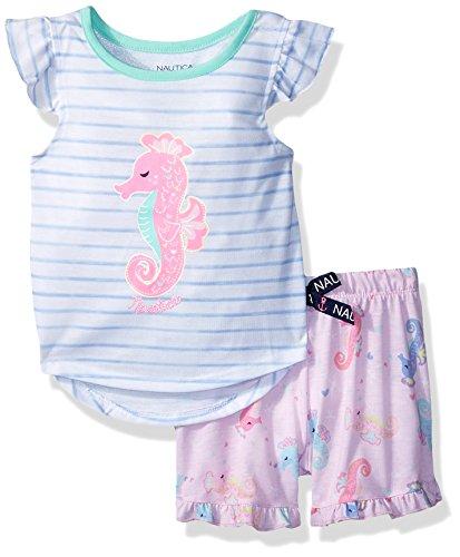 Nautica Girls' Toddler 2 Piece Jersey Pajama Short Set, Seahorse, 4T