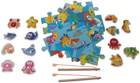 Funny Baby Magnetic Wooden Fishing Board Jigsaw Puzzle Rod Fishing Game Set
