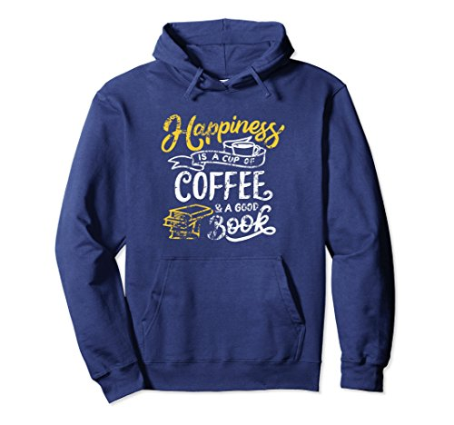 Unisex Happiness is a Cup of Coffee Good Book Distressed Hoodie Medium Navy