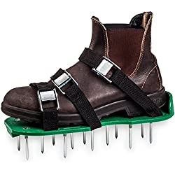 """Green Toolz Lawn Aerator Shoes - Heavy Duty with Metal Buckles and 6 Straps - Spiked Sole Lawn Care Sandals Set, Aerating Tools for Your Soil, Grass or Yard- 2"""" Long Spikes"""