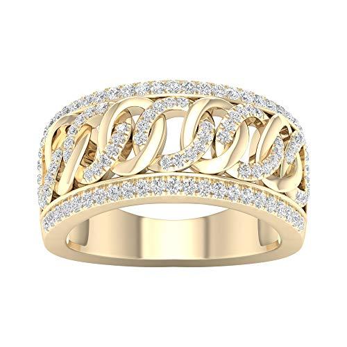 IGI Certified 3/8ct TDW Cuban Link Ring in 10k Yellow Gold ()