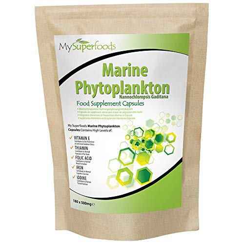 Marine Phytoplankton Capsules (180 x 500mg) | MySuperFoods | The Purest Food on Earth | Cultivated from The Deep Sea | Rich in Micronutrients | Add to Juices, Smoothies, Shakes
