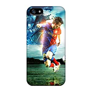 Protector Cell-phone Hard Covers For Iphone 5/5s With Custom Colorful The Player Of Barcelona Lionel Messi Dribbling Skin Best-phone-covers