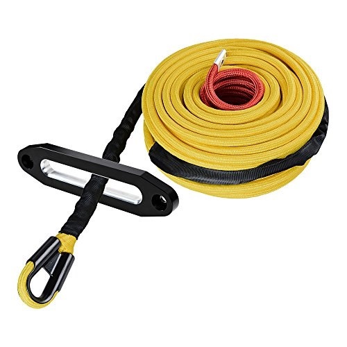 Astra Depot Yellow 95ft x 3/8 inch Synthetic Winch Line Cable Rope 22000LBs w/Heat and Rock Guard + Chrome Polished 10