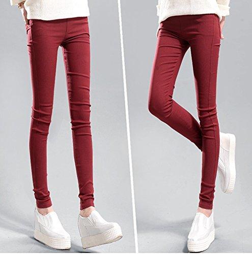 Alta Vino Pantaloni Eleganti Estiva Pantalone Pantaloni Slim Runyue Fit Vita Donna Casual Larghi Rosso qH0YHx7p