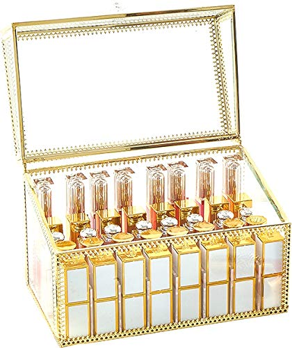 PENGKE Large Gold Lip Gloss Holders 40 Grid Acrylic Lipstick Organizer and Llipgloss Display Case,9.3