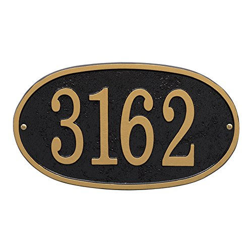 "Whitehall Personalized Cast Metal Address Plaque - Custom House Number Sign - Oval (12"" x 6.75"") - Black with Gold Numbers"