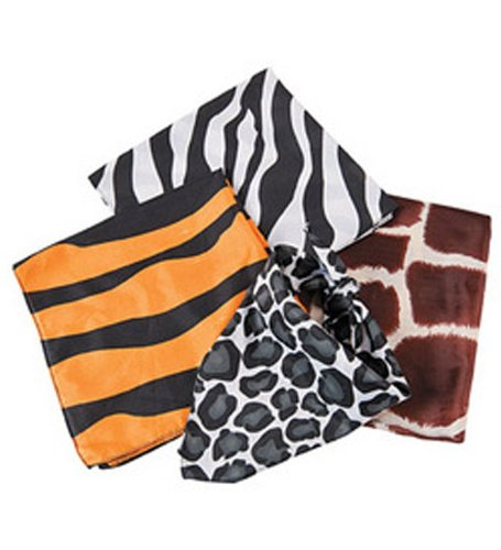 Dozen Assorted Safari Animal Print Bandannas (Animal Print Bandanas)