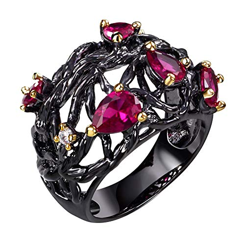 lEIsr00y Elegant Women Carved Branch Hollow Water Drop Faux Ruby Ring Party Jewelry Gift - Black US 8