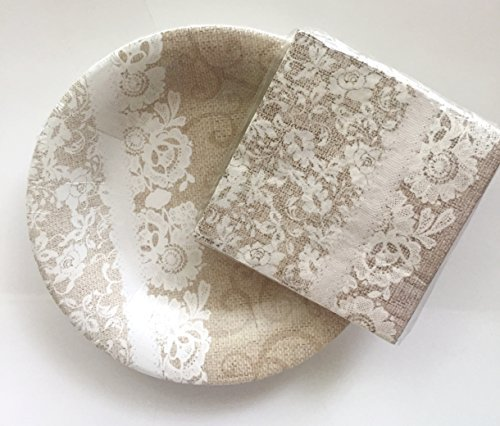 Burlap & Lace 8 inch Plates & Napkins, Bundle, 12 plates, 25 napkins, Dessert Size, Wedding, Tea Party