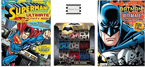Batman vs Superman Ultimate Coloring and Activity Books with Over 100 Stickers and 4 Pull Out Posters Plus 9 Roll Sticker Box with Over 200 Stickers