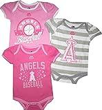 "Anaheim Angels 3pc ""Triple Play"" Creeper Bodysuit Set Infant Baby Pink Girls"