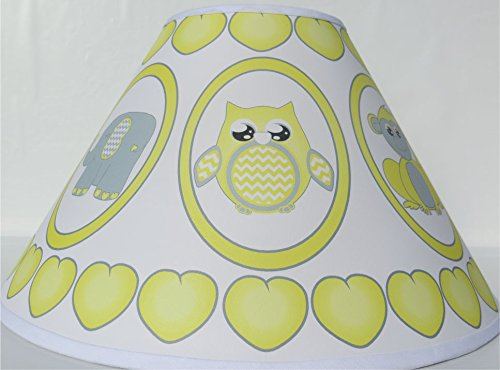 Grey and Yellow Baby Safari Lamp Shade with Elephants, Owl, Zebra, Giraffe, Hippo, Lion and Monkey Nursery Decor by Presto Lamp Shades