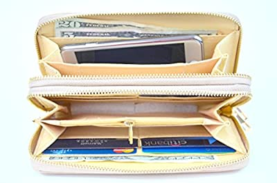 Laura Mulleavy Women's Double Zip Around PVC Leather Wristlet Clutch Organizer Wallet