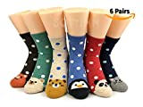 SOFTINN 6 Pairs Gift-Box-Packed Womens Socks Casual Cotton  With Designs and Cute Animals Print,C1-p6-02,One Size