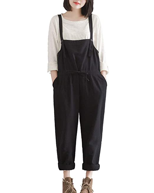 f6c893dcf81e Women s Cotton Linen Loose Plus Size Strappy Jumpsuits Overalls Casual  Harem Wide Leg Dungarees Rompers  Amazon.co.uk  Clothing