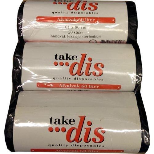 sac//relaxdays 61 x 80 cm Take dis 3 x 20 sacs poubelles de 60 l