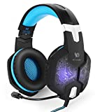 KE® Pro Gaming Headset PC Computer Stereo Bass Surround Over Ear Headphones Microphone Mute Mic Revolution Volume Control Noise Canceling Double 3.5mm plug(3 pole) Breathing LED Light - Blue & Black