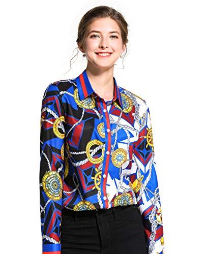 Women's Chain & Baroque Print Shirt Long Sleeve Button up Casual Blouse Top