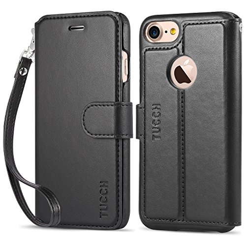 Wrap Around Holder - iPhone 7 Leather Case, TUCCH Leather Wallet Phone Case [Card Slot] [Flip] [Wallet] [Stand] [Wrist Strap] Carry-All Case for iPhone 7 (4.7 Inch), Black