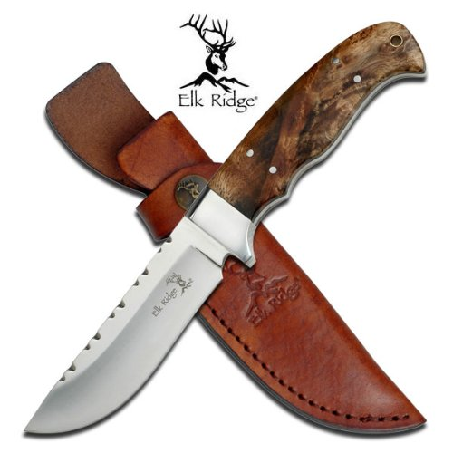 Mirrors Elk - Elk Ridge - Outdoors Fixed Blade Knife - 8.5-in Overall, 4-in Mirror Finish Stainless Steel Blade, Burl Wood Handle, Leather Sheath - Hunting, Camping, Survival - ER-303