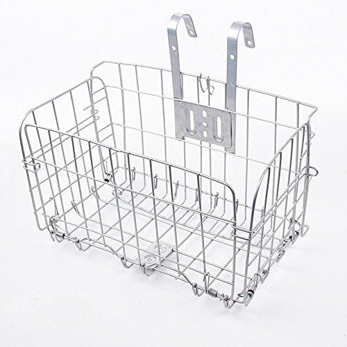 EDTara Big Cuboid Folding Steel Wire Front Basket Bike Accessories Mountain Bike Commuter Car Silver by EDTara