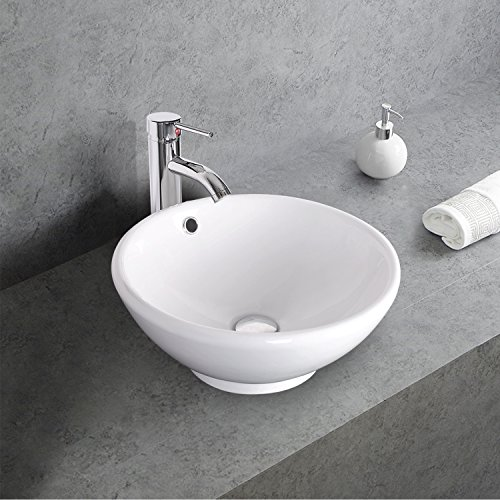 Sales Promotion 2017 New 1.5 GPM White Round Ceramic Porcelain Vessel Sink and Faucet Combo for Bathrooms Sink Bowl & Pop Up Drain Chrome A06