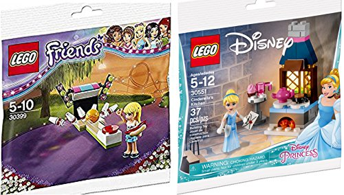 LEGO Disney Princess Cinderella's Kitchen & Mini Figure with invitation to the Enchanted Ball 30551-1 + LEGO Friends Bowling with mini figure girl & Hot Dog Set (30399) edition fun polybag 2-pack