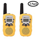 Walkie Talkies for Kids, Womdee 22 Channel Hand Held Walkie Talkie with 3 Miles Range & Built in Flash Light, Toys for 3-12 Year Old Children, Best Gifts for Christmas Birthday New Year (Yellow)