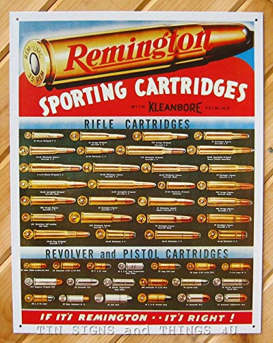 ShopForAllYou Vintage Decor Signs Remington Sporting Cartridges Ammo Chart TIN Sign Metal Hunt Gun Wall Decor 1001