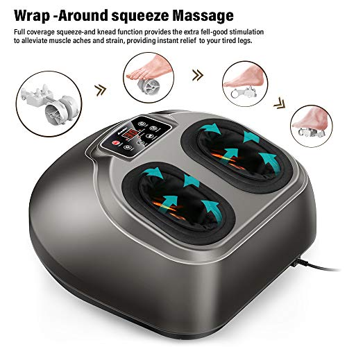 Shiatsu Foot Massager Machine, Arealer Deep Kneading Massager with Remote Control, Heat Function, Air Compression, Rolling for Home Office