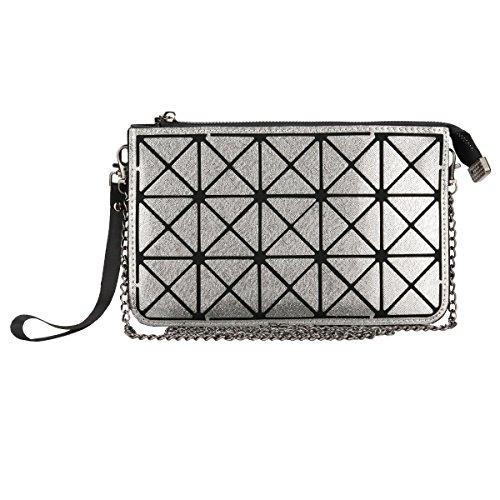 Women Wristlet Wallet Clutch - Geometric Crossbody Purse Bags - Black Gunmetal, by Beaulegan by BEAULEGAN