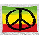 Rasta Tapestry by Ambesonne, Grunge Style Watercolor Design African Flag Colors Hippie Peace Sign, Wall Hanging for Bedroom Living Room Dorm, 80 W X 60 L Inches, Black Green Yellow and Red