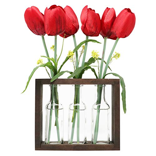 - The Mammoth Design Flower Vases Bud Pots in Wooden Rack | Rustic, Vintage Home Decor | Windowsill Accessory, Wedding, Kitchen, Dining Table Centerpiece
