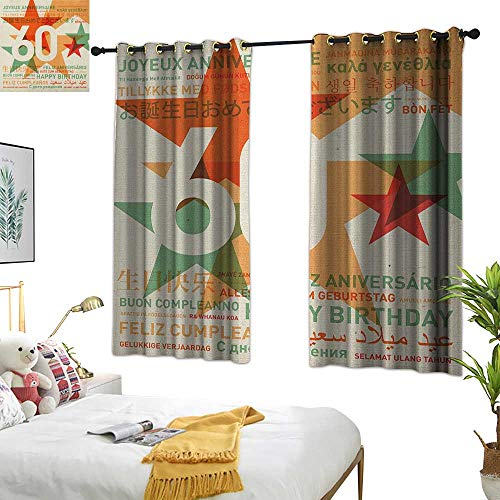 (Warm Family Bedroom Curtains 60th Birthday,World Cities Birthday Party Theme with Abstract Stars Print, Green Vermilion and White 63