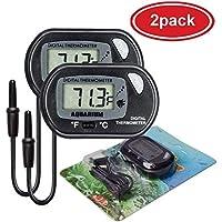 (2 Pack) LCD Fish Tank Aquarium Thermometer, TERSELY Digital Water Thermometer for Fish Tank Aquarium Marine Temperature