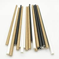 Paper Straws biodegradable, eco-friendly, disposable 300 bulk pack drinking straws/cake pop sticks in white, black and brown for crafts, parties, events, weddings, restaurants