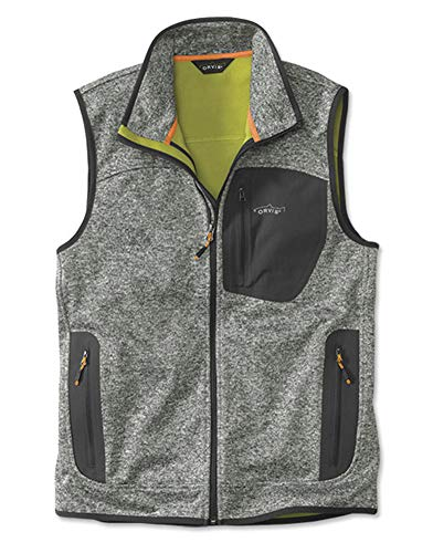(Orvis Men's Windproof Sweater Fleece Vest, Light Gray,)